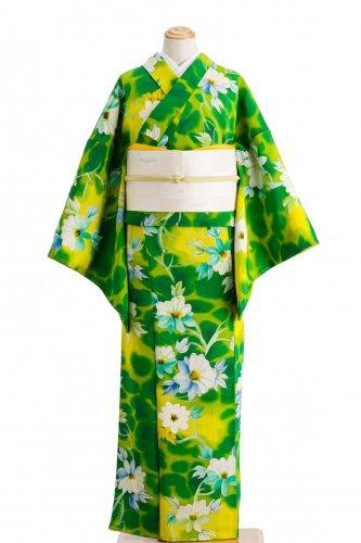 縮緬 緑と黄色の暈し 白花