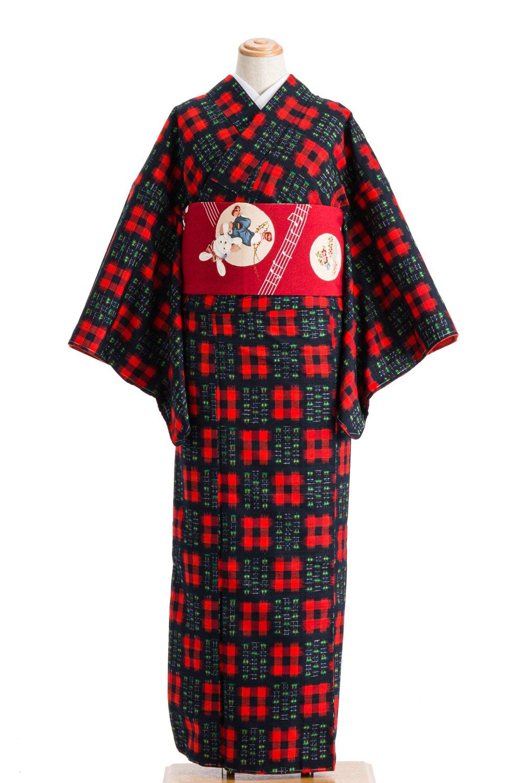 「紬 赤い井桁」の商品画像