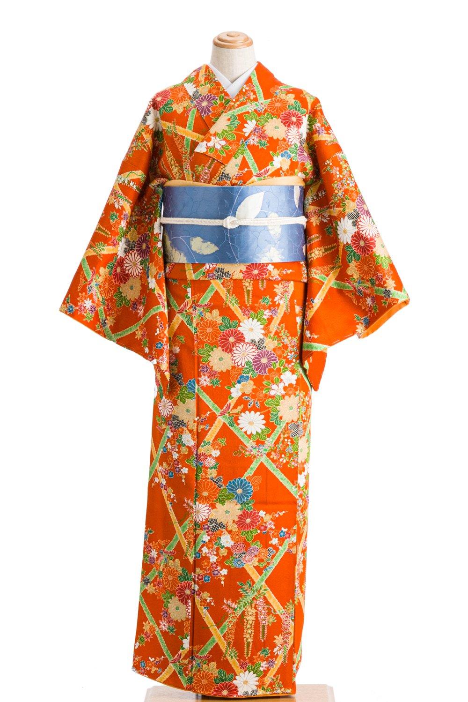 「柿色地 格子に菊・藤・梅」の商品画像
