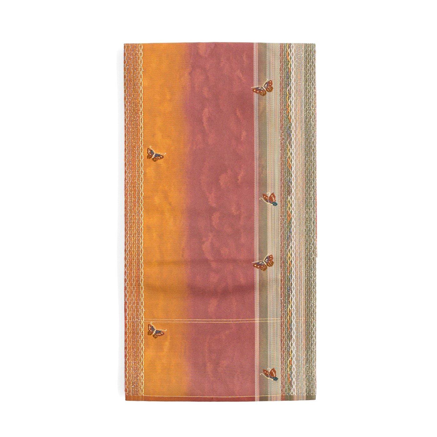 「袋帯●細い縞に小さな蝶々」の商品画像