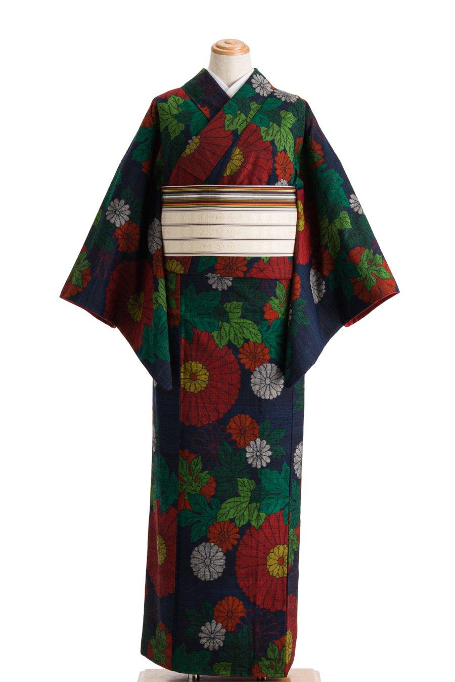 「紬 大小紅白菊」の商品画像
