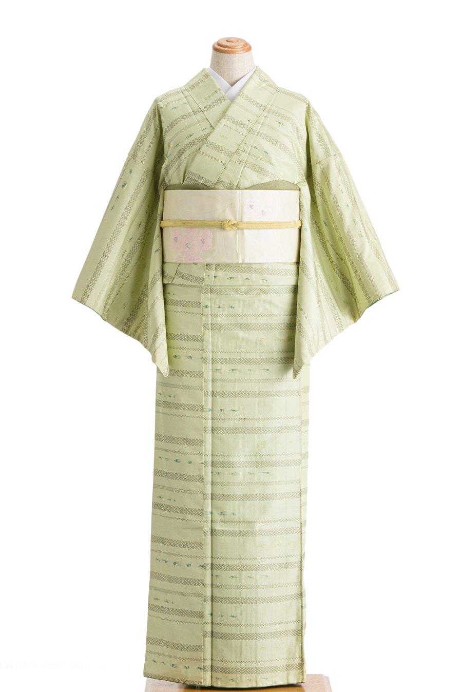 「紬 薄黄緑 横段に絣の燕」の商品画像