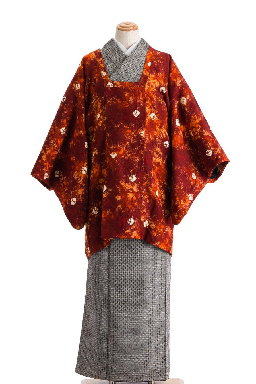 「道行コート オレンジ茶 白絞り」の商品画像