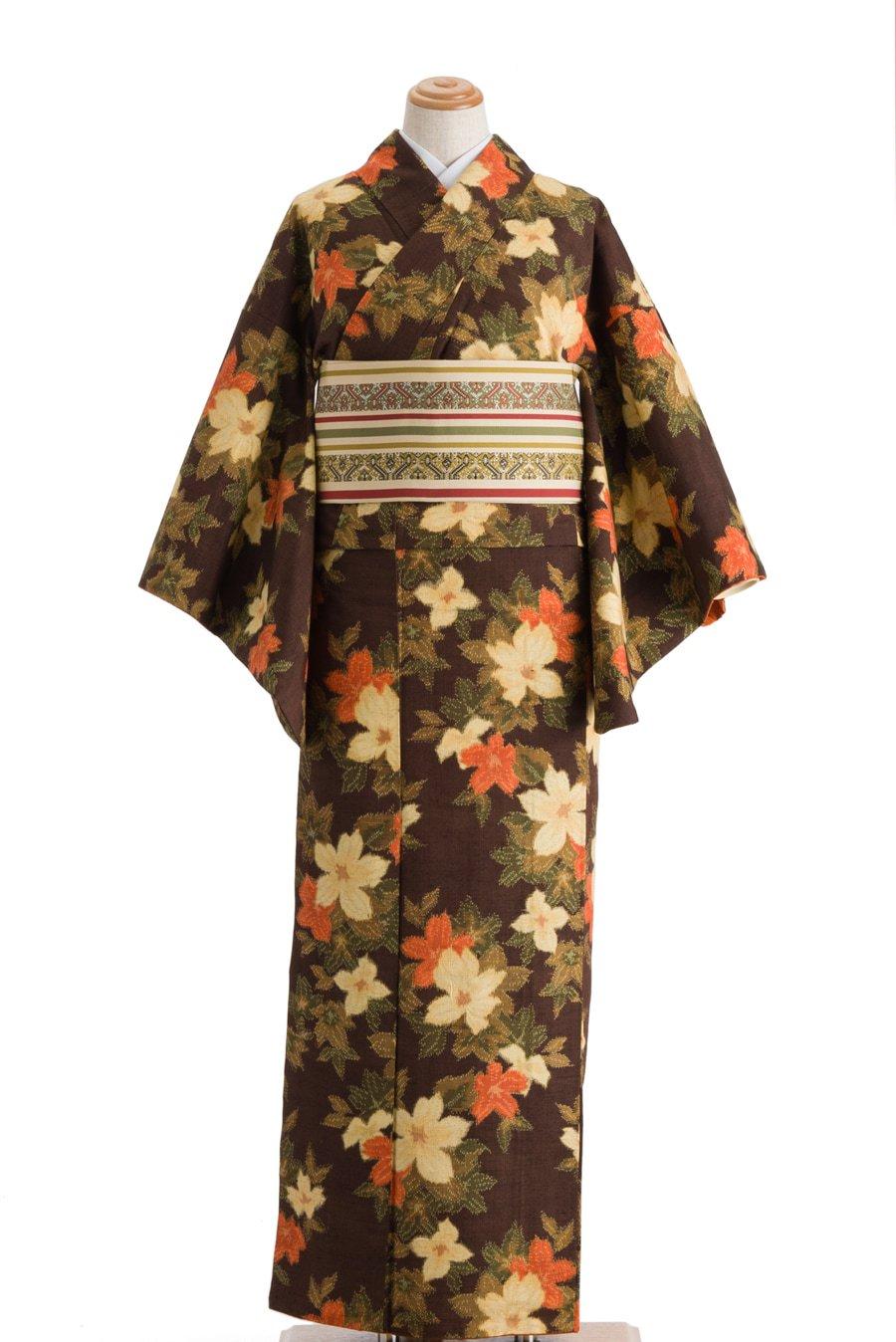 「紬 焦げ茶 花」の商品画像