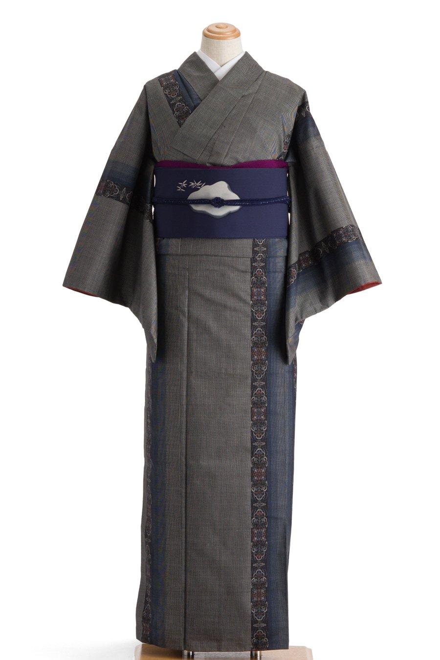 「大島紬 青い縞に唐花」の商品画像