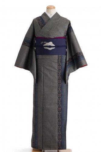大島紬 青い縞に唐花のサムネイル画像