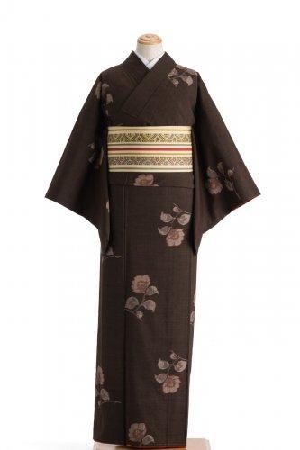 紬 焦げ茶地に椿のサムネイル画像