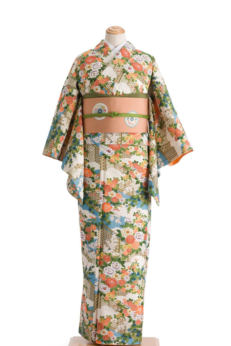 「染紬 水色地に菊や牡丹など」の商品画像