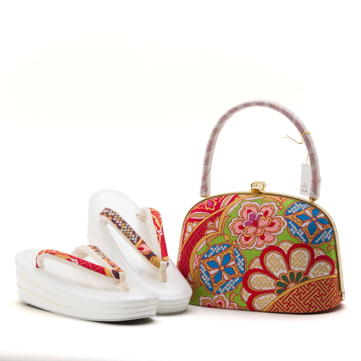 「アウトレット 西陣織 振袖用草履バッグセット 赤 菊」の商品画像