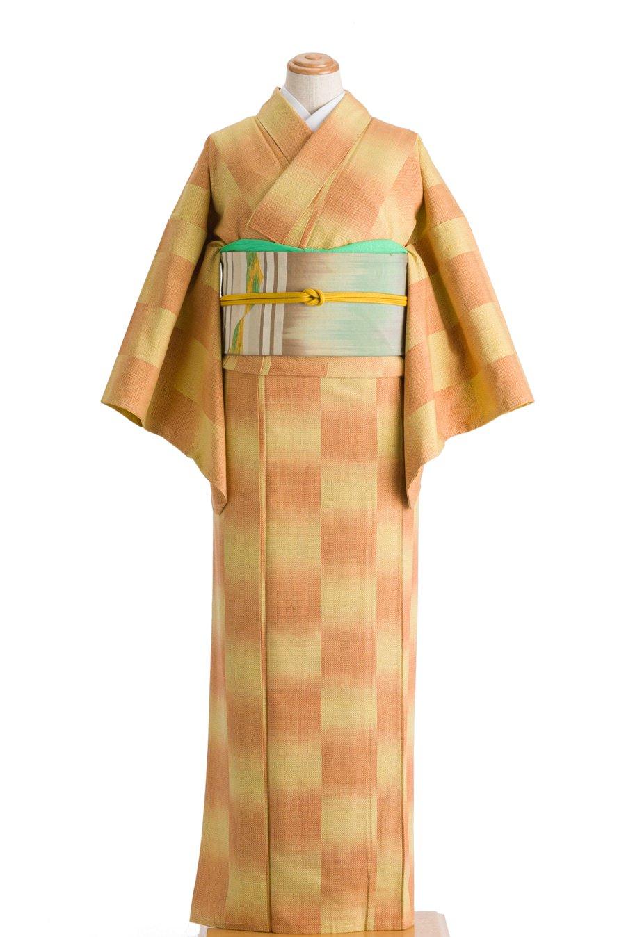 「紬 黄色とオレンジの市松」の商品画像