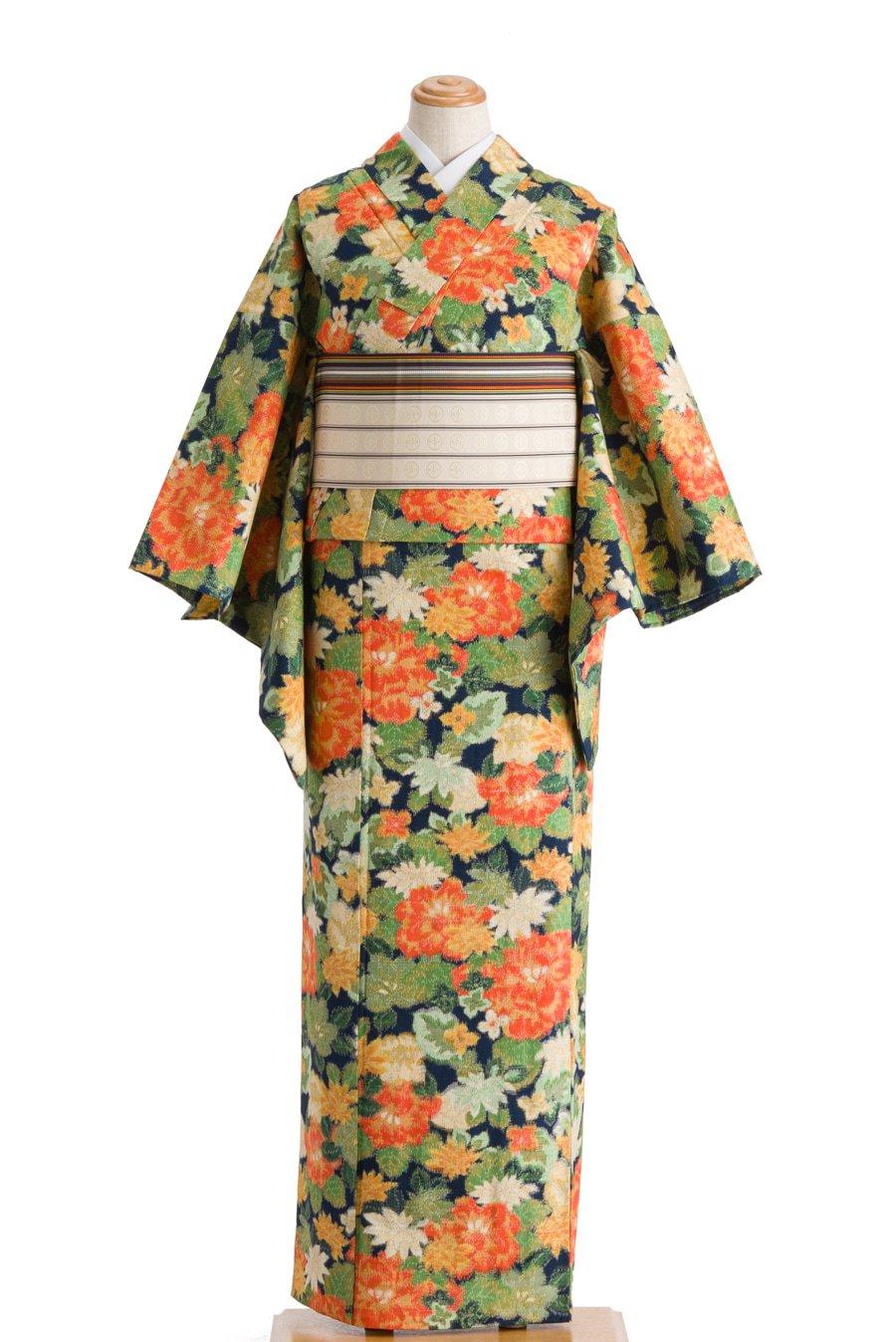 「単衣 紬 色彩豊かな花」の商品画像