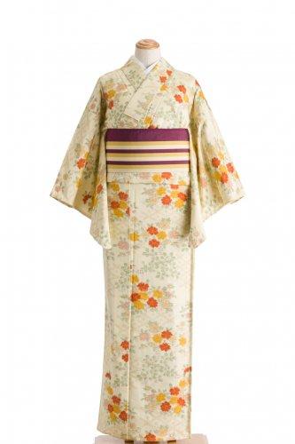 単衣 紬 オレンジや黄色の花のサムネイル画像