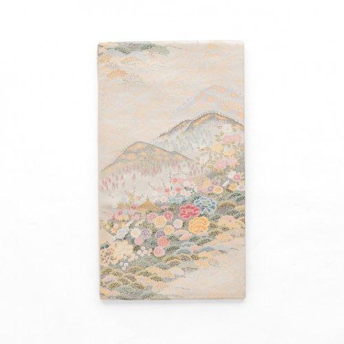 袋帯●山裾の庵と花のサムネイル画像