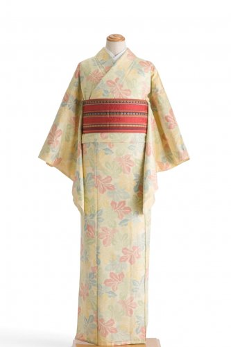 単衣 紬 カラフルな葉のサムネイル画像