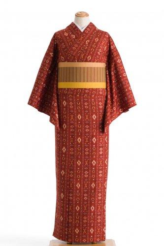 単衣 紬 赤煉瓦色に絣模様のサムネイル画像