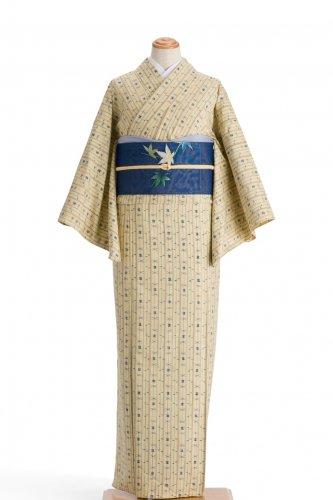 単衣 紬 縞と絣柄のサムネイル画像