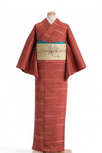 単衣 紬 赤茶にアクセントボーダーのサムネイル画像