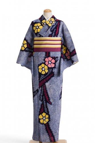 絞りの浴衣 二色の花とシャープな葉のサムネイル画像