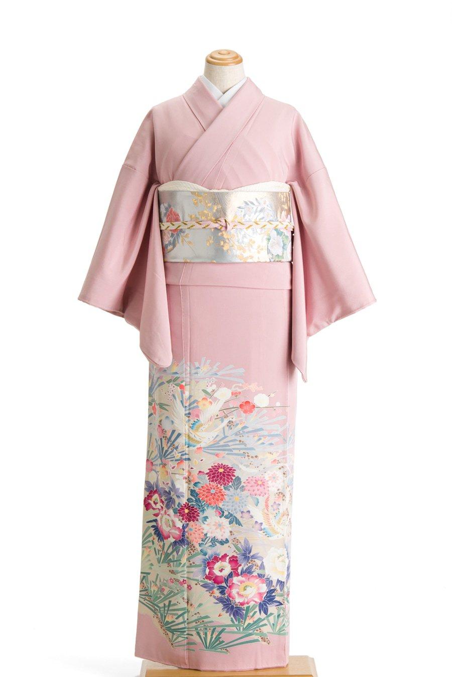 「色留袖 一つ紋 加賀調 鶴と花 作家物」の商品画像