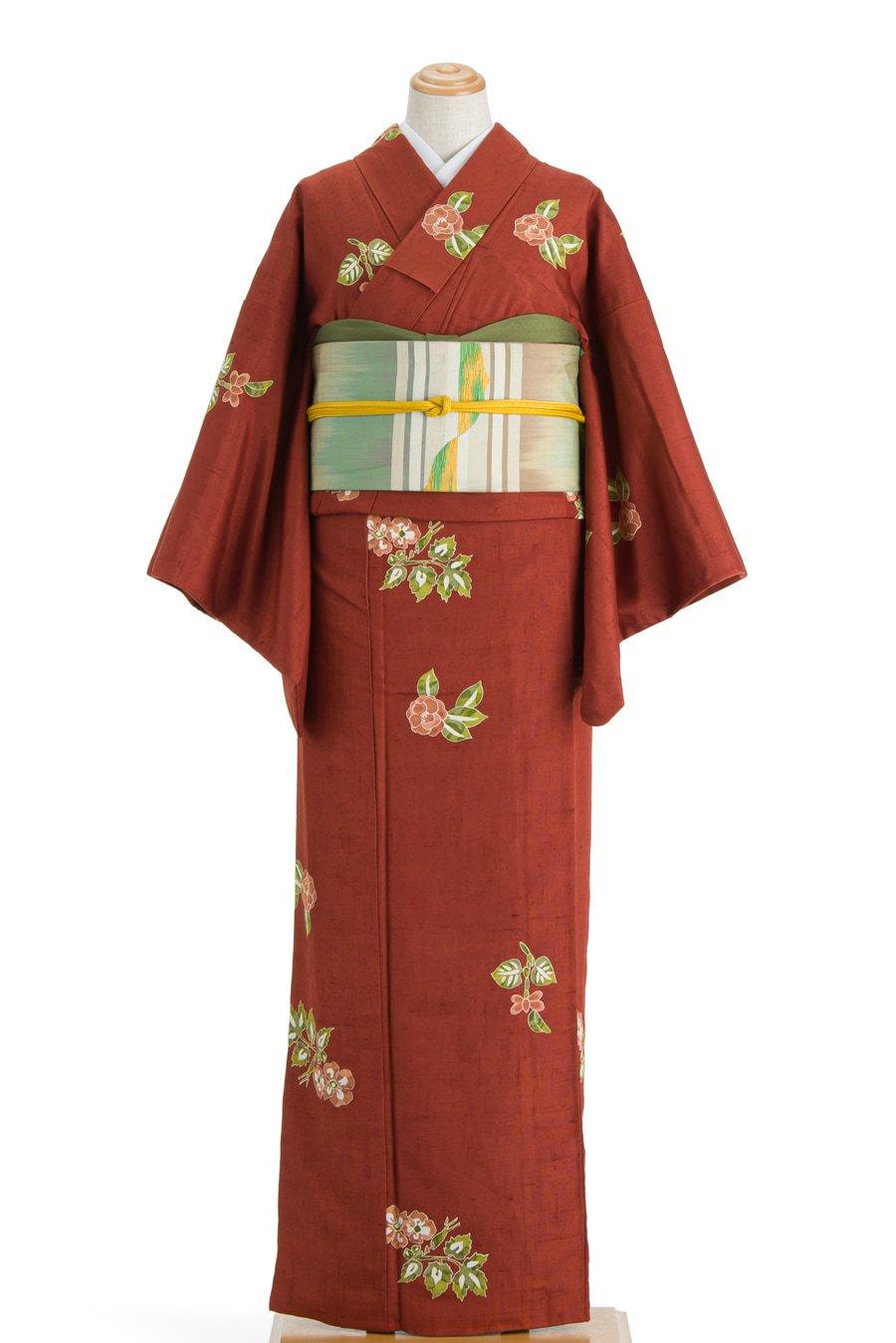 「染紬 赤茶地に花」の商品画像