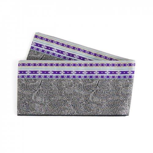 博多小袋帯 紫縞 花レースのサムネイル画像
