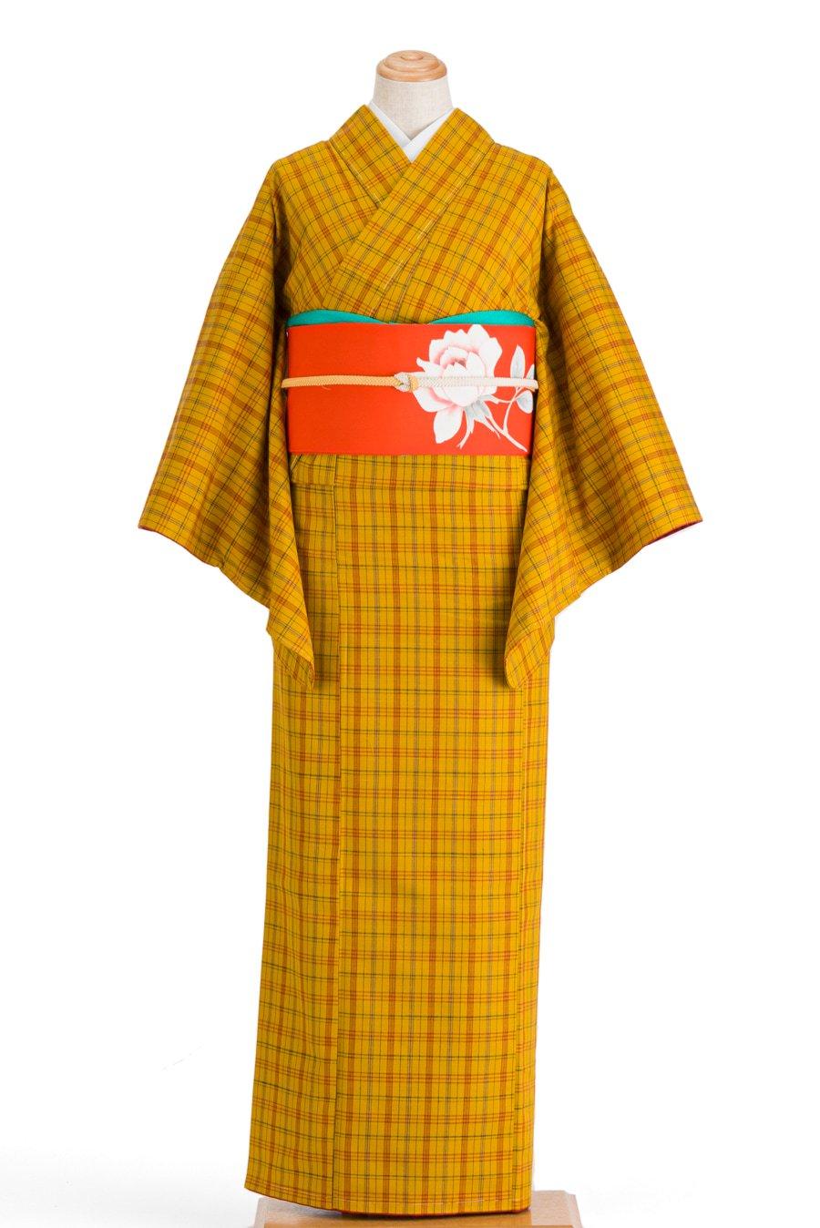 「紬 黄八丈風 格子柄」の商品画像