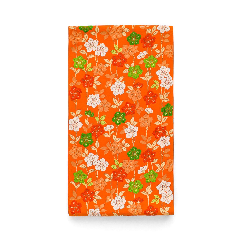 袋帯●柿色地 小花のライン - か...