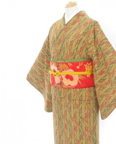 2点セット*ギザギザラインの着物 ころんとしたお花の帯のサムネイル画像