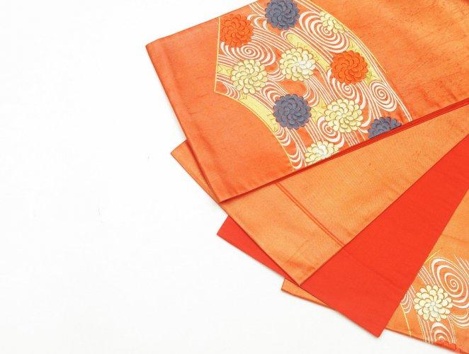 袋帯●扇面に流水と菊 刺繍のサムネイル画像