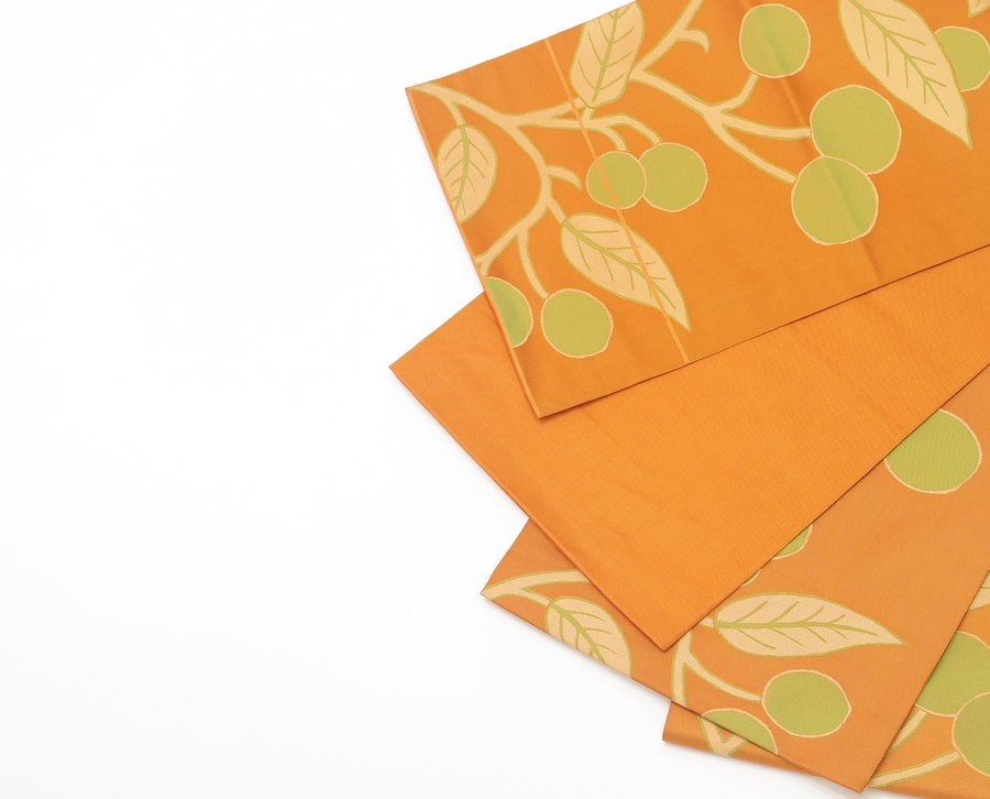 「袋帯●オレンジの地 黄緑の実」の商品画像