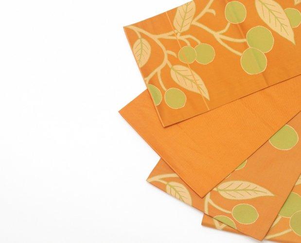 袋帯●オレンジの地 黄緑の実のサムネイル画像