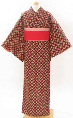単ウール●紺地に三色のお花菱型のサムネイル画像