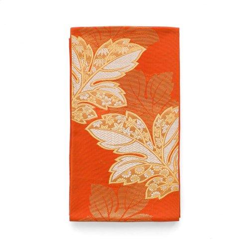 夏袋帯●オレンジ地 金の菊の葉のサムネイル画像