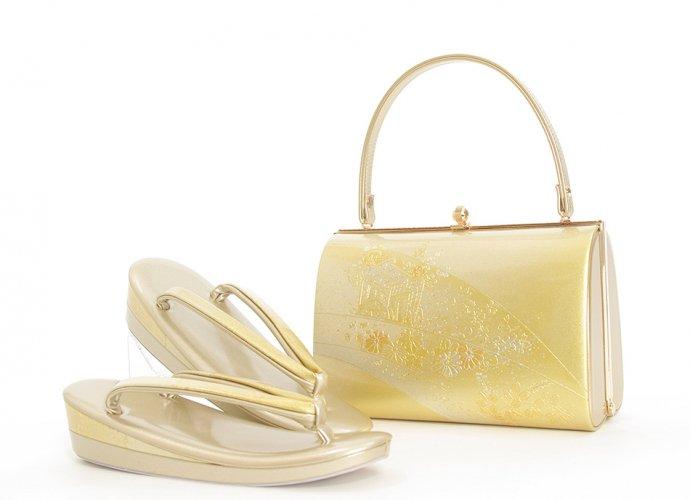 本皮 日本製 草履バッグセット 源氏車 菊や萩(L)のサムネイル画像