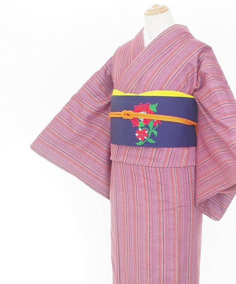 「2点セット*紫ベースの縞 赤い花の帯」の商品画像