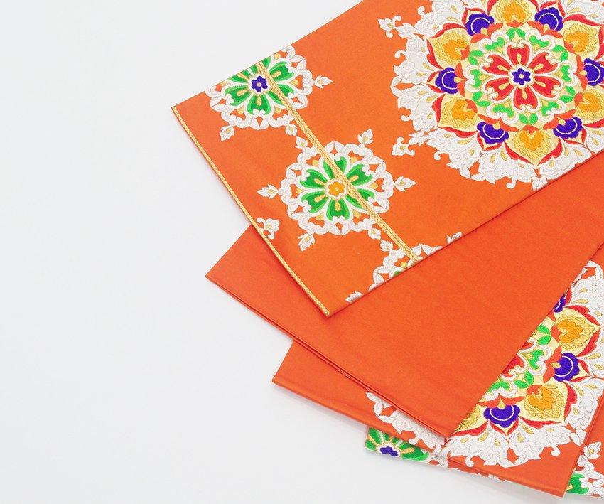 「袋帯●柿色地 花紋」の商品画像