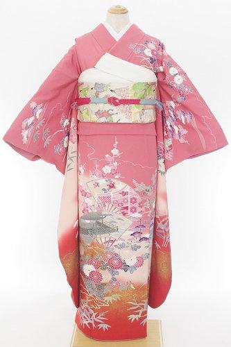 振袖 赤ピンクグラデーション 扇に家 牡丹・梅・菊などのサムネイル画像