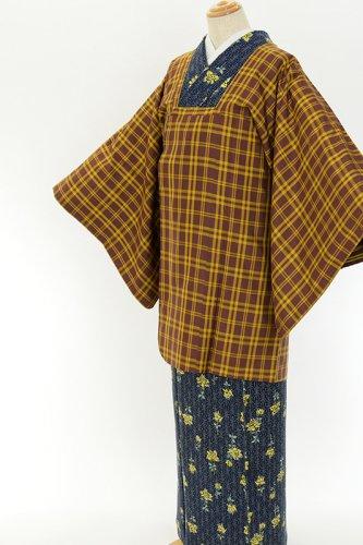 茶色と黄色 ざっくり格子 道行コートのサムネイル画像