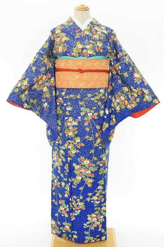 「叩き染め青 菊の花 付下げ小紋」の商品画像