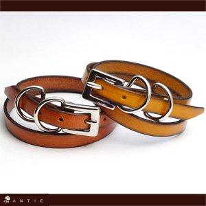 イタリア製レザーヌメ革ブレスレット二重巻きペア【キャメル&マーメイド】