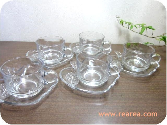 SOGAアップル カップ&ソーサー5客セット クリア 耐熱ガラス(曽我ガラスりんご型*昭和レトロ雑貨