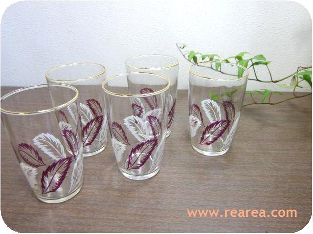 レトロな羽柄 かわいいミニグラス5個セット(コップ*昭和レトロ雑貨
