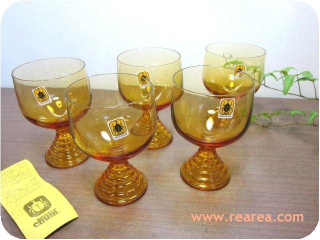 SOGA GLASS チャムchum5客セット アンバー 脚付グラス(タンブラー曽我ガラス*昭和レトロ雑貨