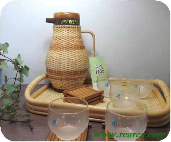 完売■天然籐編み ウォーターピッチャー 1.0L &トレー&カップ&コースターセット (ポット冷茶グラス〓昭和レトロ…
