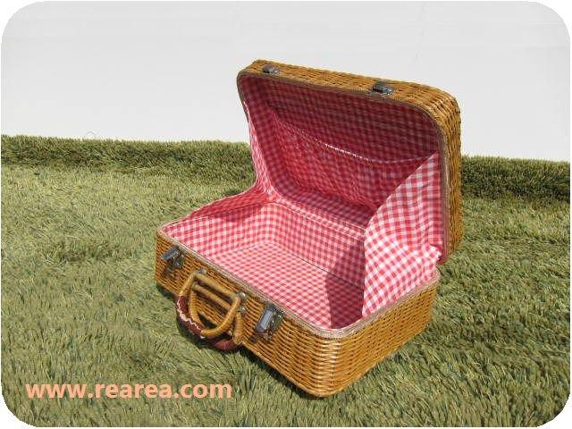 レトロなトランク かごバッグ u  横37センチ 赤チェック柄(小物入れ 籠  収納箱*昭和レトロ雑貨