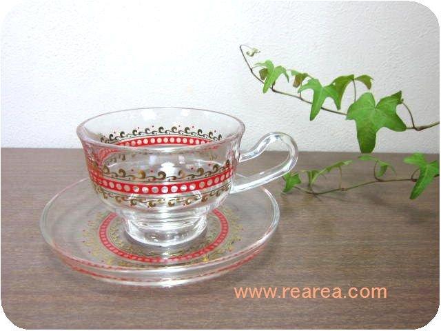 アデリア耐熱ガラス カップ&ソーサー サイケドット柄  (ADERIA*昭和レトロ雑貨