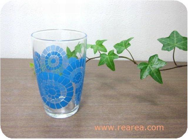完売■レトロ花柄 グラス 花火ブルー 高10センチ (タンブラー幾何学模様*昭和レトロ雑貨