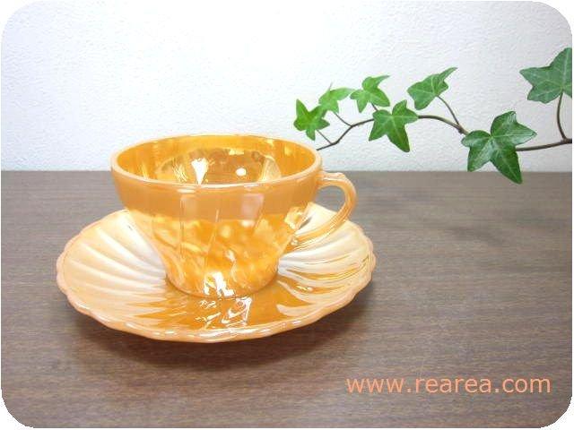 ANCHOR HOCKING   耐熱ガラス カップ&ソーサーオレンジ (アンカーホッキング*昭和レトロ雑貨