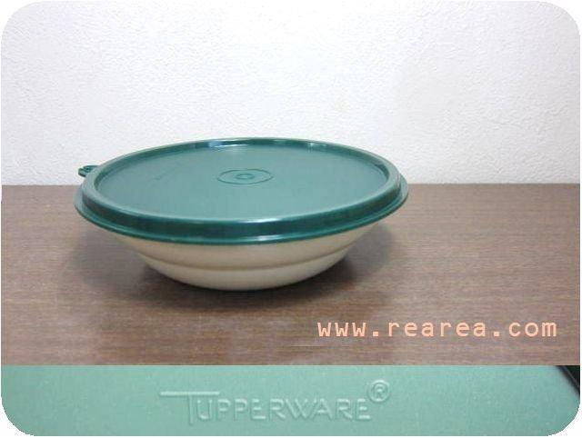 Tupperware グリーン丸型ケース 高5×径17センチ400ml(タッパーウェア保存容器*昭和レトロ