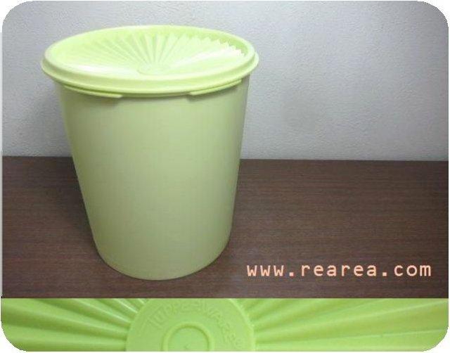 完売■ Tupperware イエローグリーン丸型デコレーター 高19×径17センチ2750ml(タッパーウェア保存容器*昭和レト…